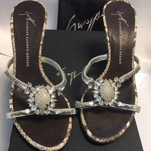 Giuseppe Zanotti Grey Snake Skin Crystal Sandals